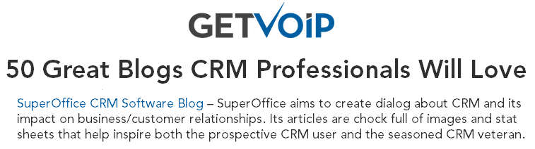 SuperOffice top 50 CRM blog