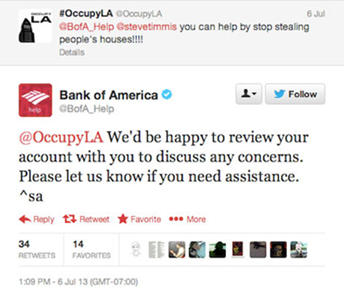 Twitter autoresponse by Bank of America