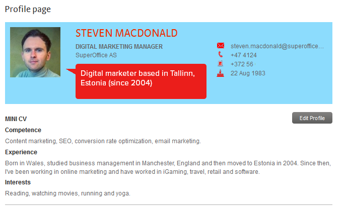 about me profile on company intranet
