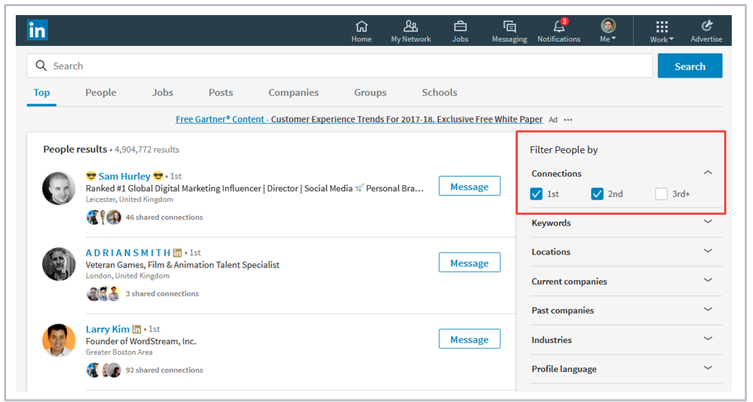 LinkedIn advanced search for social selling
