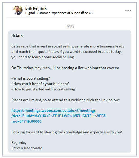 Linkedin invite for social selling webinar