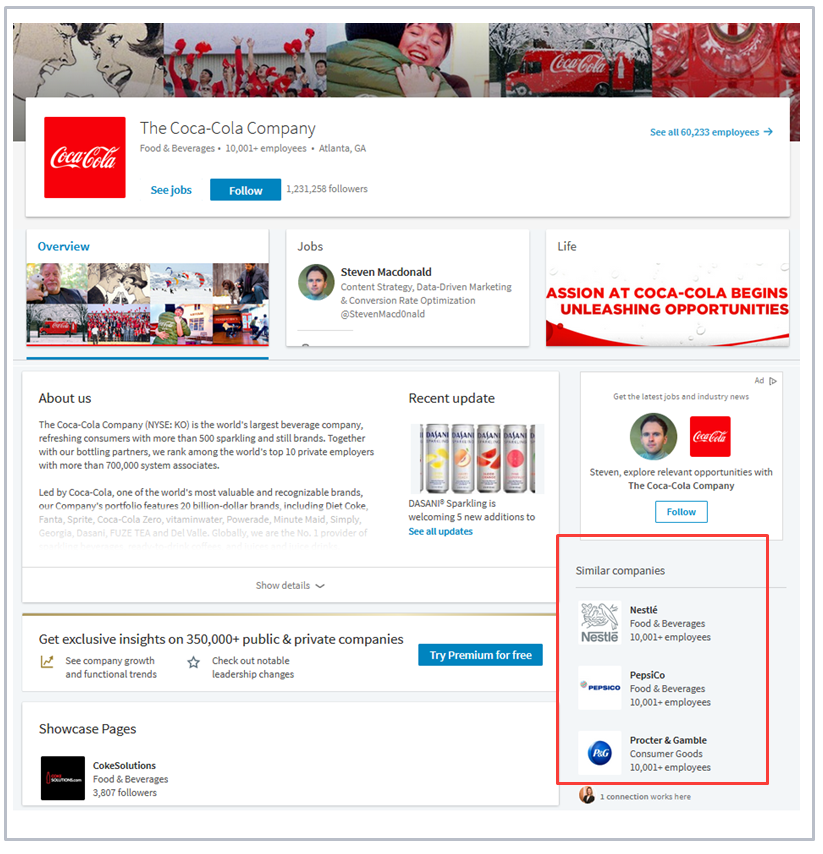 Target similar companies on Linkedin