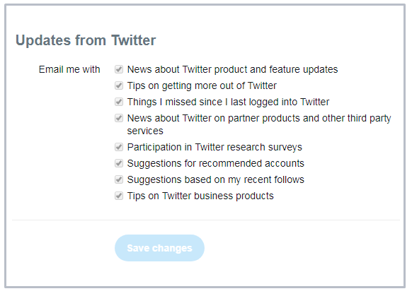 Email preference settings from Twitter
