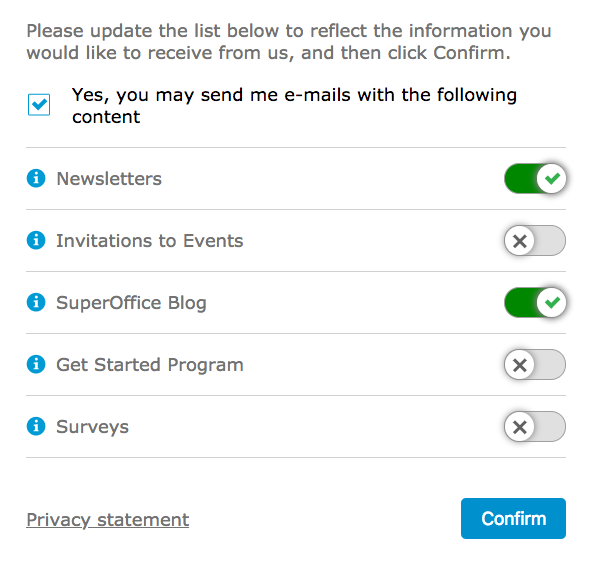 Subscription management settings