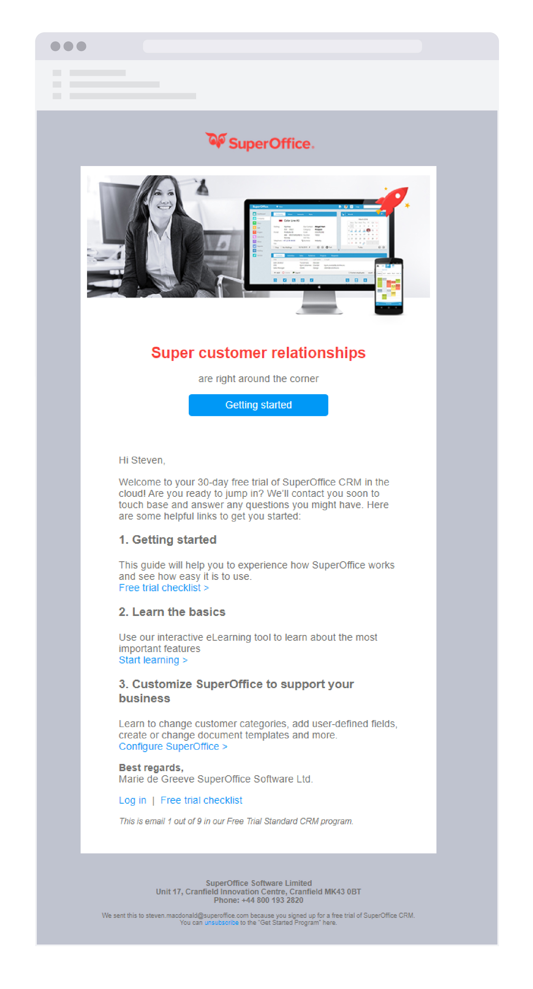 Free trial welcome email sent via customer service software
