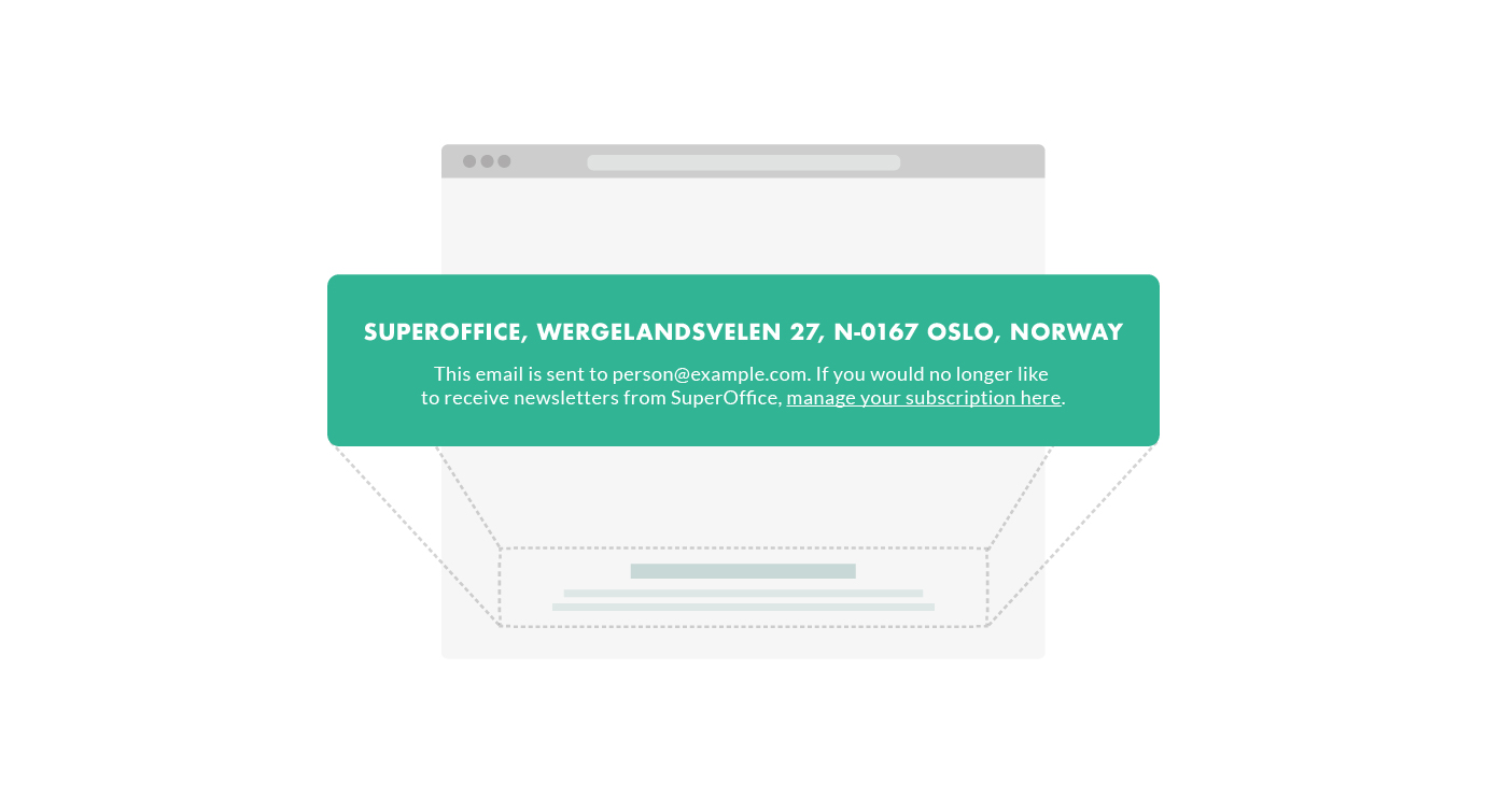 unsubscribe link in footer of email