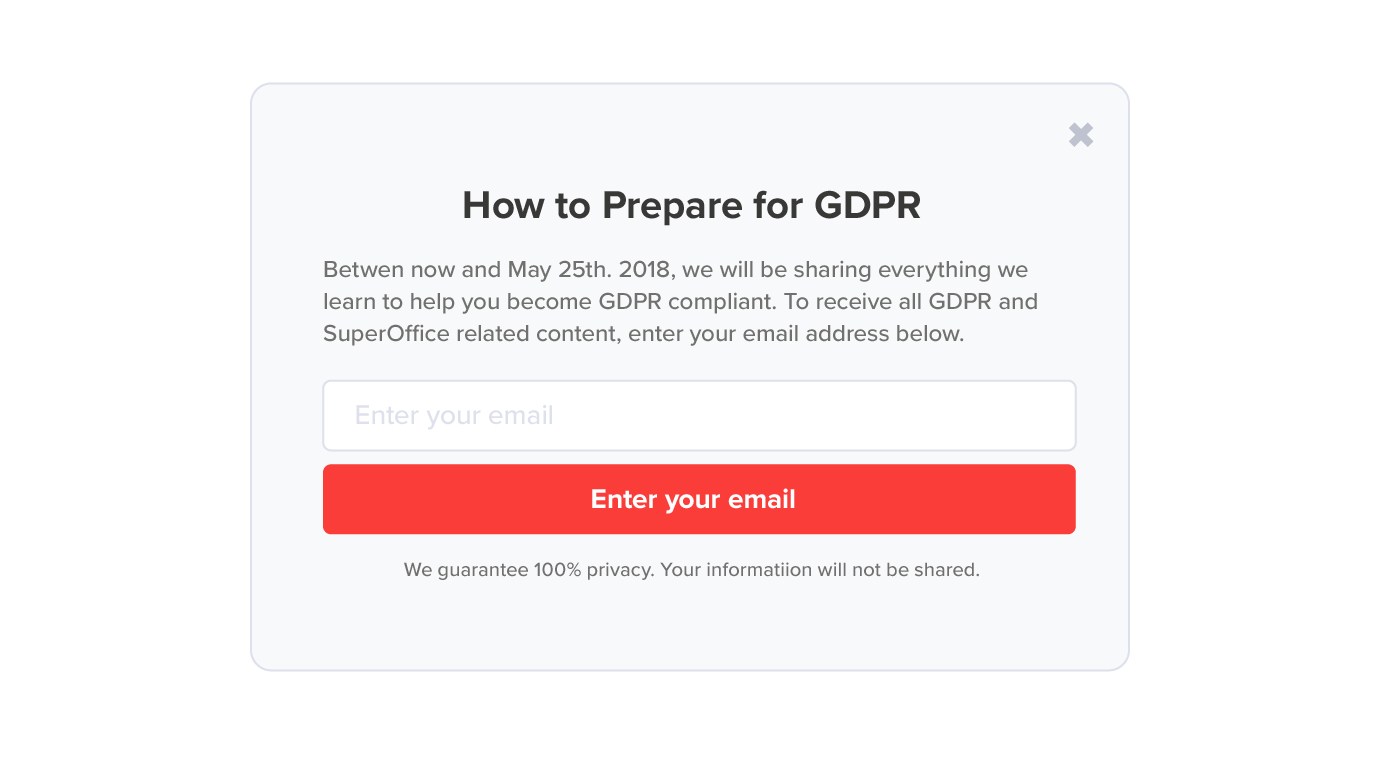 GDPR compliant website pop up