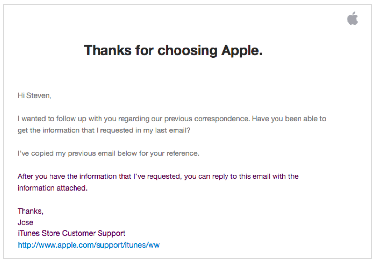 Another example of a follow up email from Apple