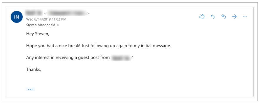 A real example of a follow up email from my inbox