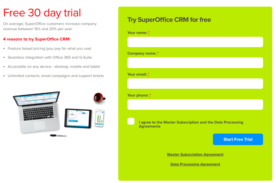 Free trial sign up web form