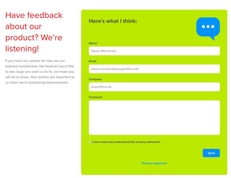 Product feedback web form