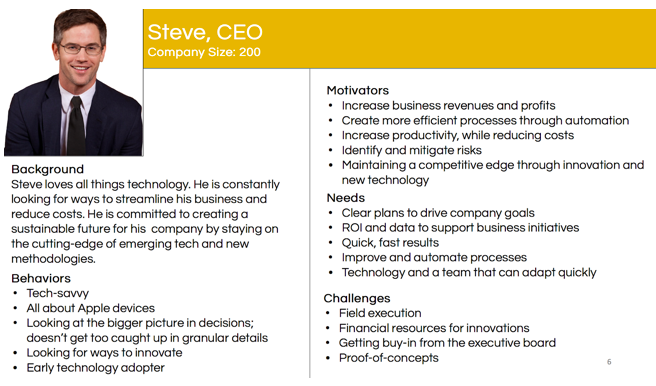 The customer profile of a CEO
