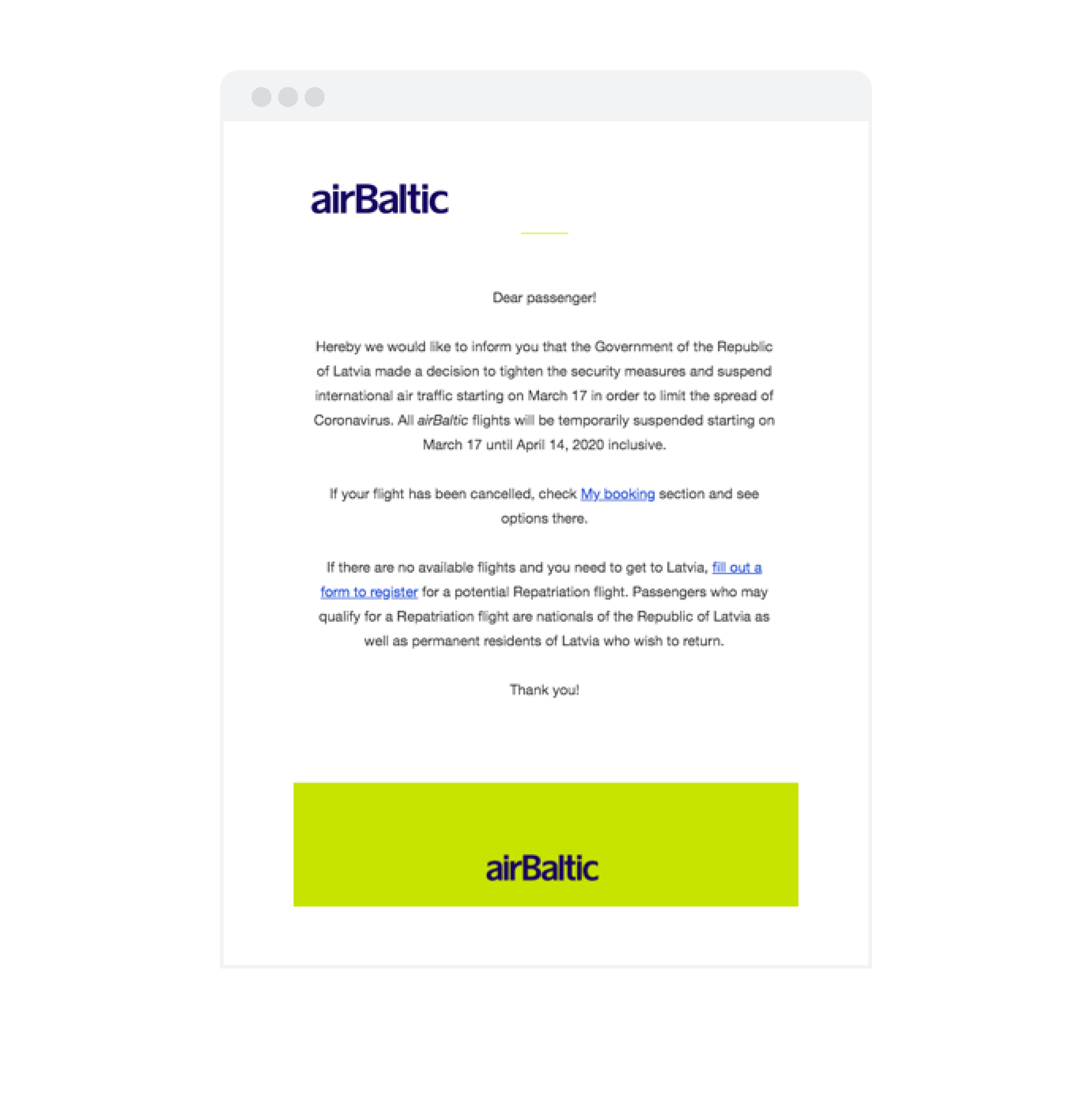 airBaltic cancellation email
